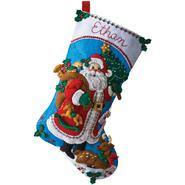 "Traditional Santa Stocking Felt Applique Kit-18"" Long at Kmart.com"