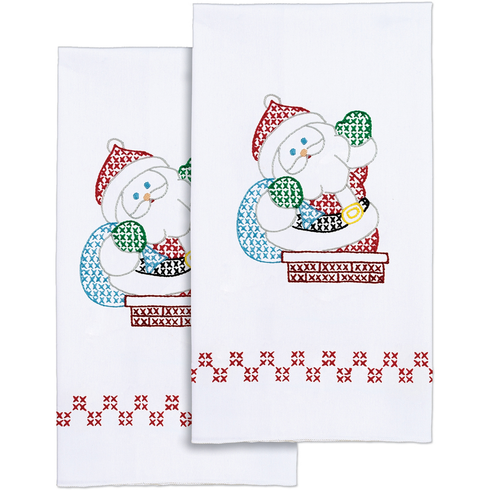 "Stamped White Decorative Hand Towel 17""X28"" One Pair-Santa"