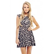 AX Paris Women's Knitted Animal Print Skater Dress at Kmart.com