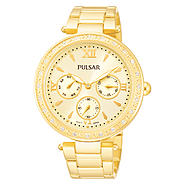 Pulsar Ladies Gold Tone Stainless Steel Dress Sport White Dial Watch and Crystal Elements at Sears.com