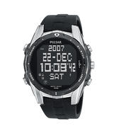 Pulsar Men's World Time Digital Black Urethane Strap and Black Dial Watch at Sears.com