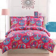 Cosmo Girl Peace Sign Pink Full Comforter and Pillow Shams at Sears.com