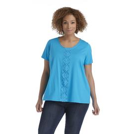 Basic Editions Women's Plus Crochet-Trim Top at Kmart.com