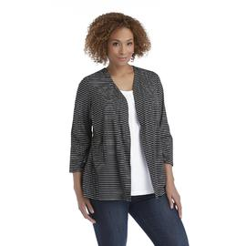 Basic Editions Women's Plus Layered-Look Knit Top - Striped at Kmart.com