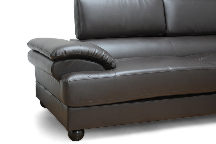 Baxton Studio Adelaide Brown Leather Modern Sectional Sofa (Right Facing Chaise)
