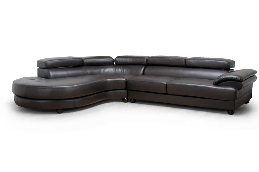 Adelaide Brown Leather Modern Sectional Sofa (Left Facing Chaise)