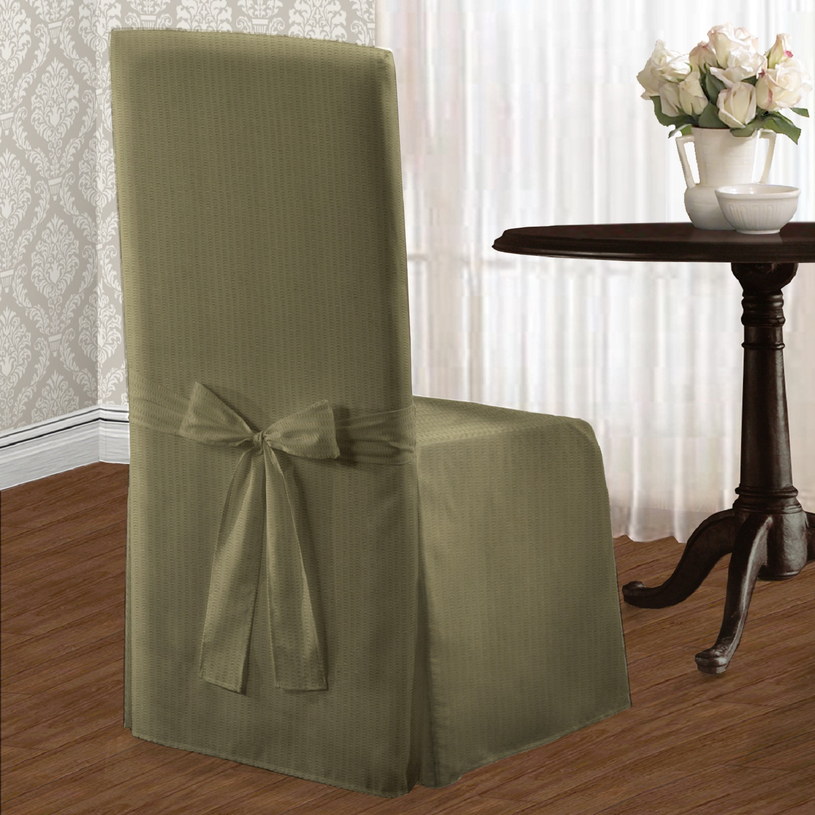 United Curtain Company Metro Woven Tone on Tone Stripe Dining Chair Cover PartNumber: 3ZZVA69522212P MfgPartNumber: DRCMET