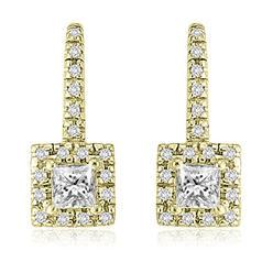 AMCOR 0.90 cttw. 14K Yellow Gold Round And Princess Diamond Fish-Hook Earrings (I1, H-I) at Kmart.com