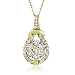 AMCOR Ladies 0.50 cttw 14k Yellow Gold Love Knot Round Cut Diamond Pendant at Kmart.com