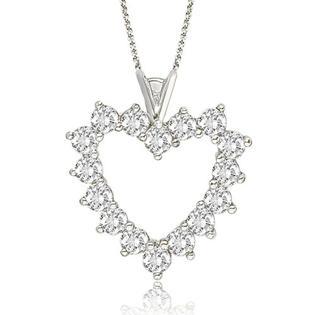AMCOR 2.50 cttw. Platinum Round Cut Big Diamond Heart Pendant (SI2, H-I)