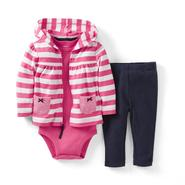 Carter's Newborn & Infant Girl's Hoodie Jacket, Bodysuit & Leggings - Stripes at Sears.com
