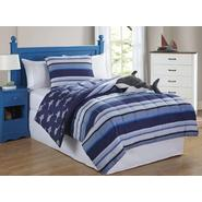 Furry Friends Shark Stripe 3 Piece Twin Comforter Set at Kmart.com