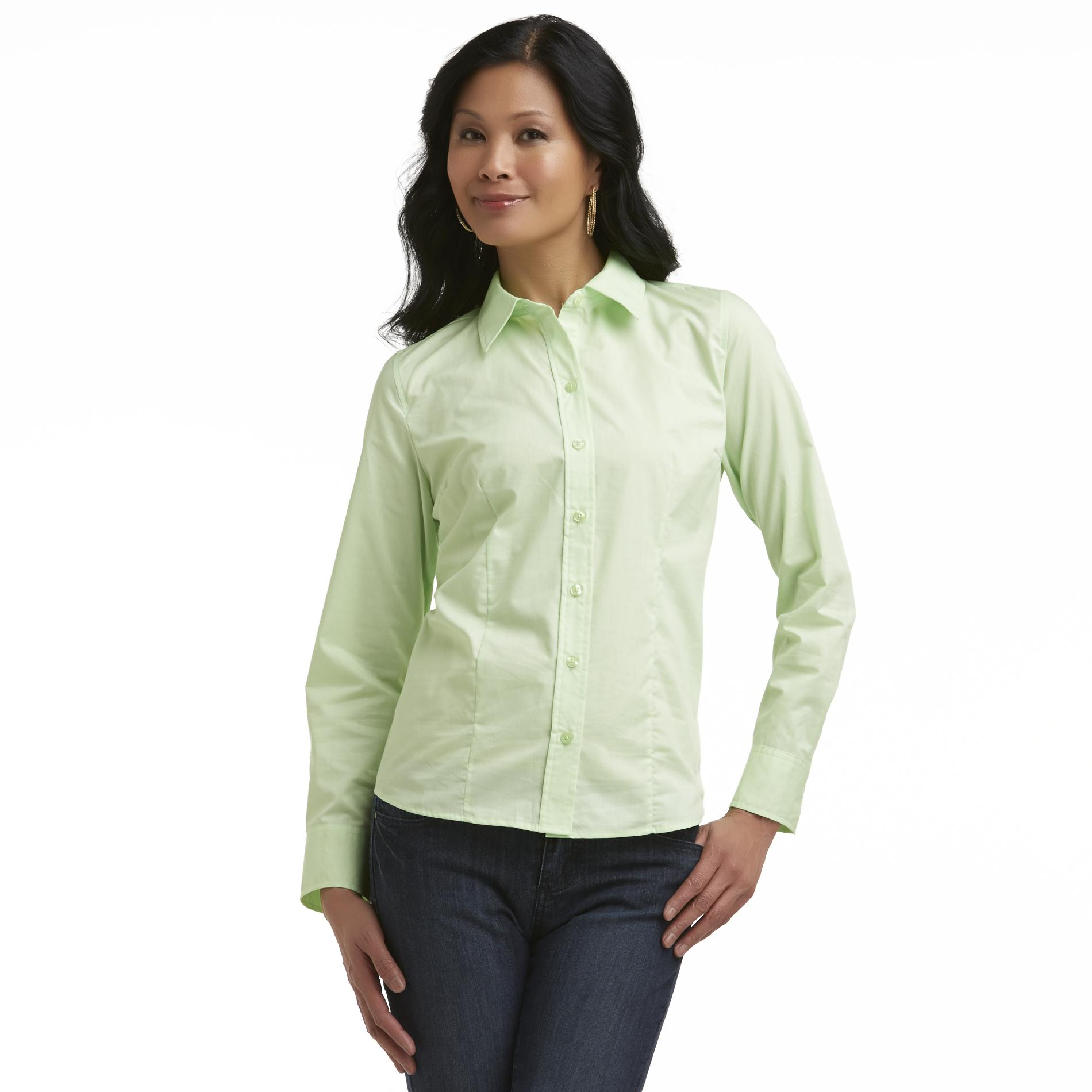 Basic Editions Women's Plus Easy-Care Shaped Shirt at Kmart.com