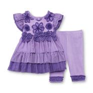 WonderKids Infant & Toddler Girl's Tiered Mesh-Detail Top & Leggings at Kmart.com