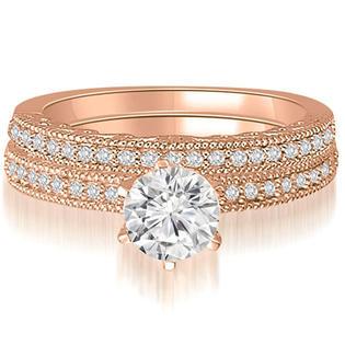 AMCOR 0.85 cttw. 18K Rose Gold Antique Milgrain Round Diamond Bridal Set (I1, H-I)