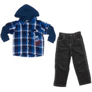 Little Rebels Infant & Toddler Boy's Hooded Shirt & Jeans - Plaid at Sears.com