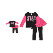 Dollie & Me Girl's Top, Skirted Leggings & Doll Outfit - Sequin Star at Sears.com