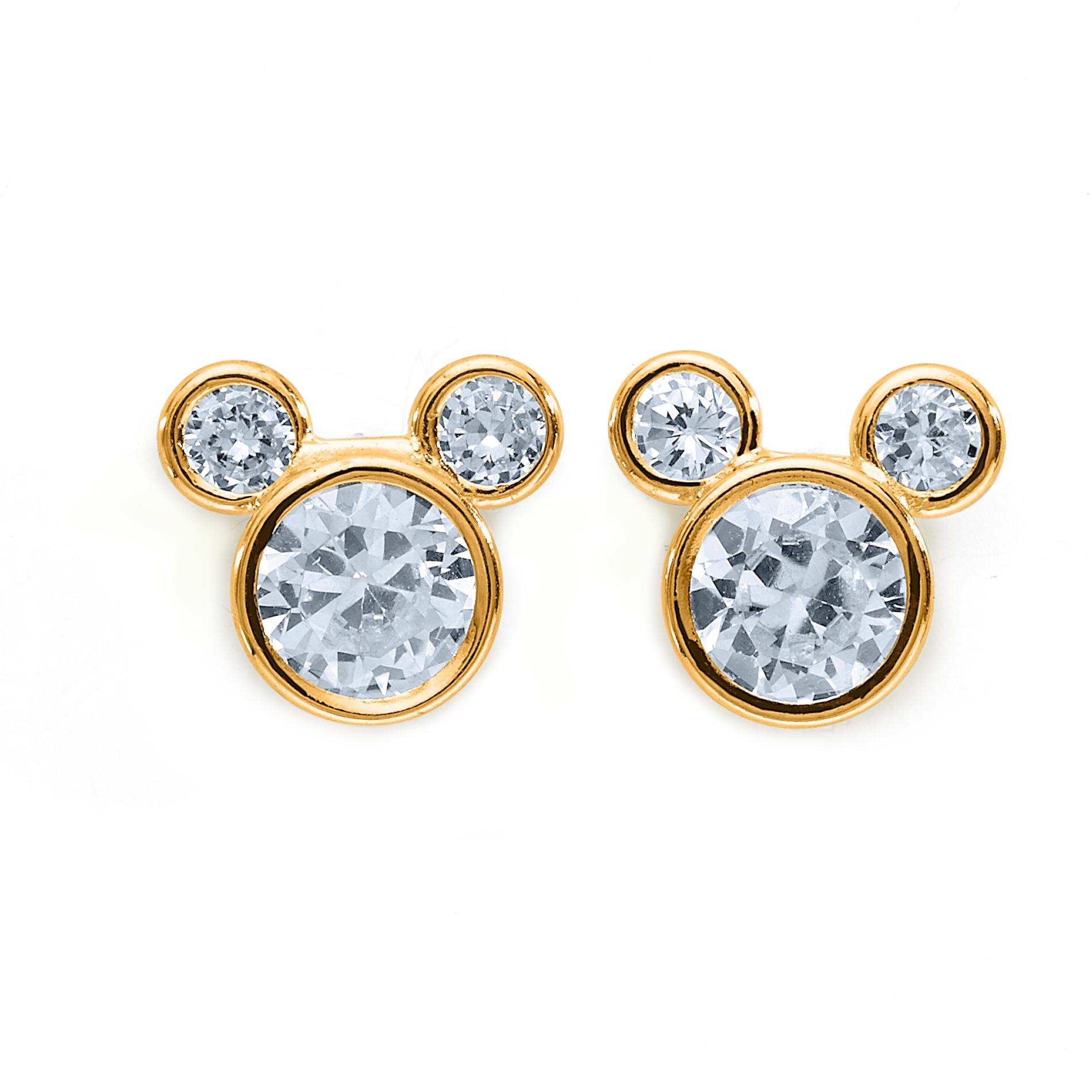 Girl's Cubic Zirconia 14K Yellow Gold Mickey Mouse Stud Earrings