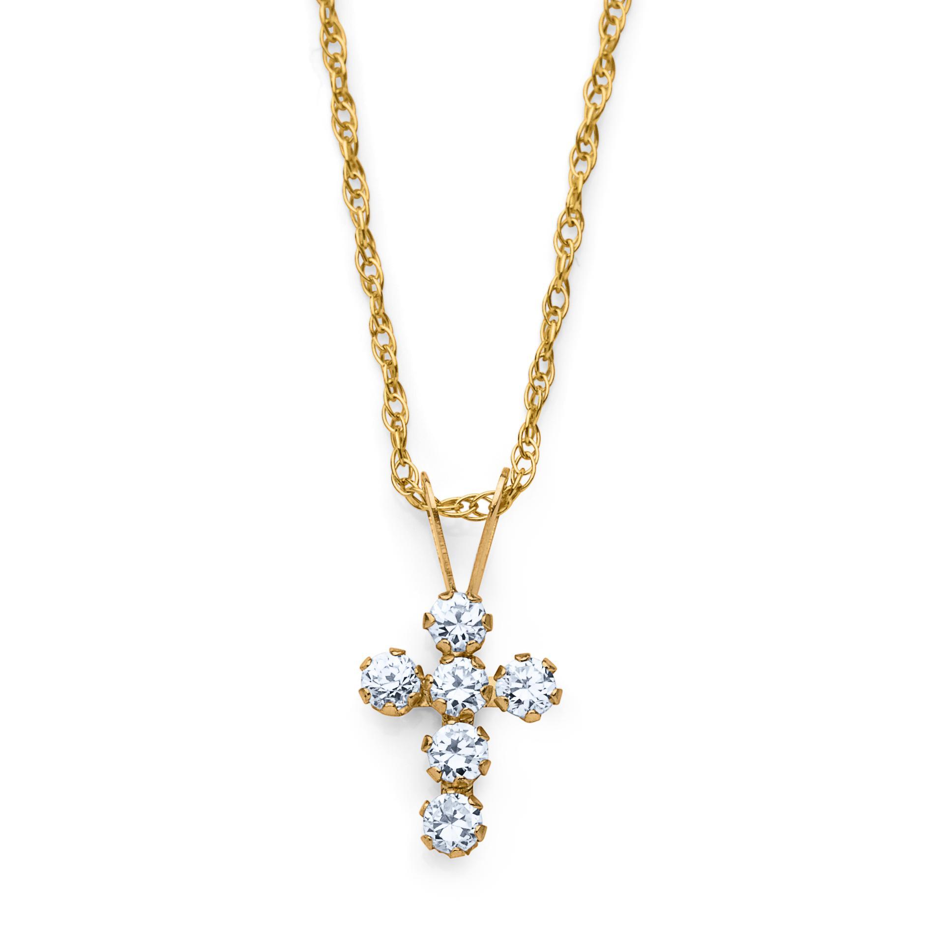 Girl's 10K Gold Cubic Zirconia Cross Pendant Necklace