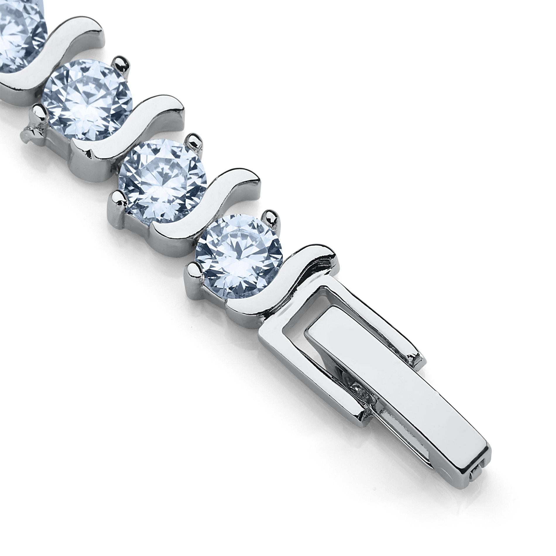 White Cubic Zirconia Sterling Silver Layered Tennis Bracelet