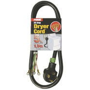 Prime Wire RD100405 3-Pole 4-Wire SRDT 30A 125/250-Dryer Cord Volt, Gray , 5-Feet at Sears.com