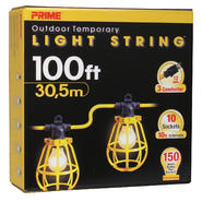 Prime Wire LSUG2835 100-Feet 10-Bulb 12/3 SJTW Outdoor Temporary Light String, Yellow at Kmart.com
