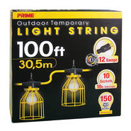 Prime Wire LSTLM835 12/3 SJTW TTL Temporary Light String With Metal Cages, 100-Feet at Kmart.com