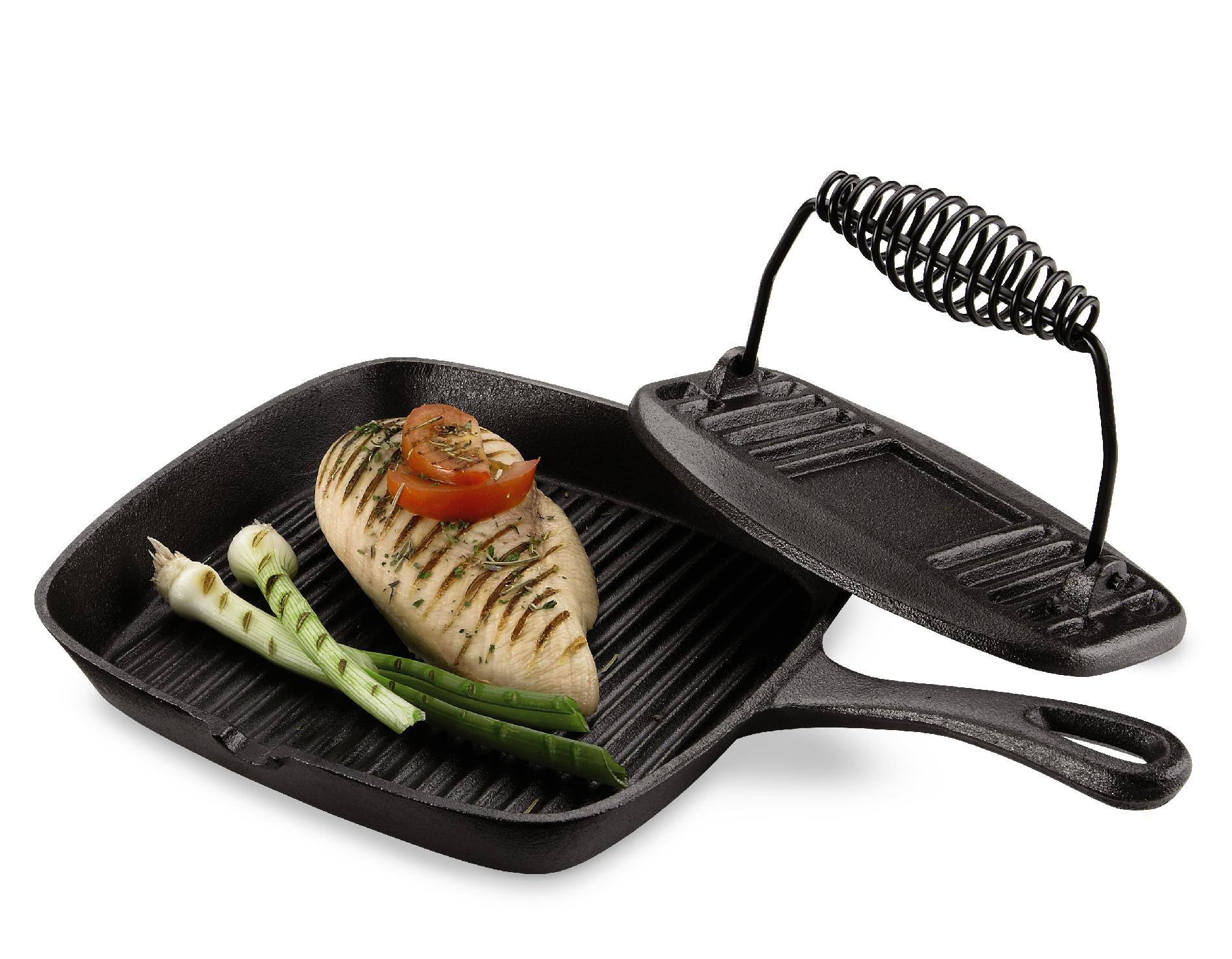 Essential Home Cast Iron Grill Pan And Press Set