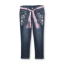Route 66 Girl's Cropped Skinny Jeans & Belt - Studded Floral at Kmart.com