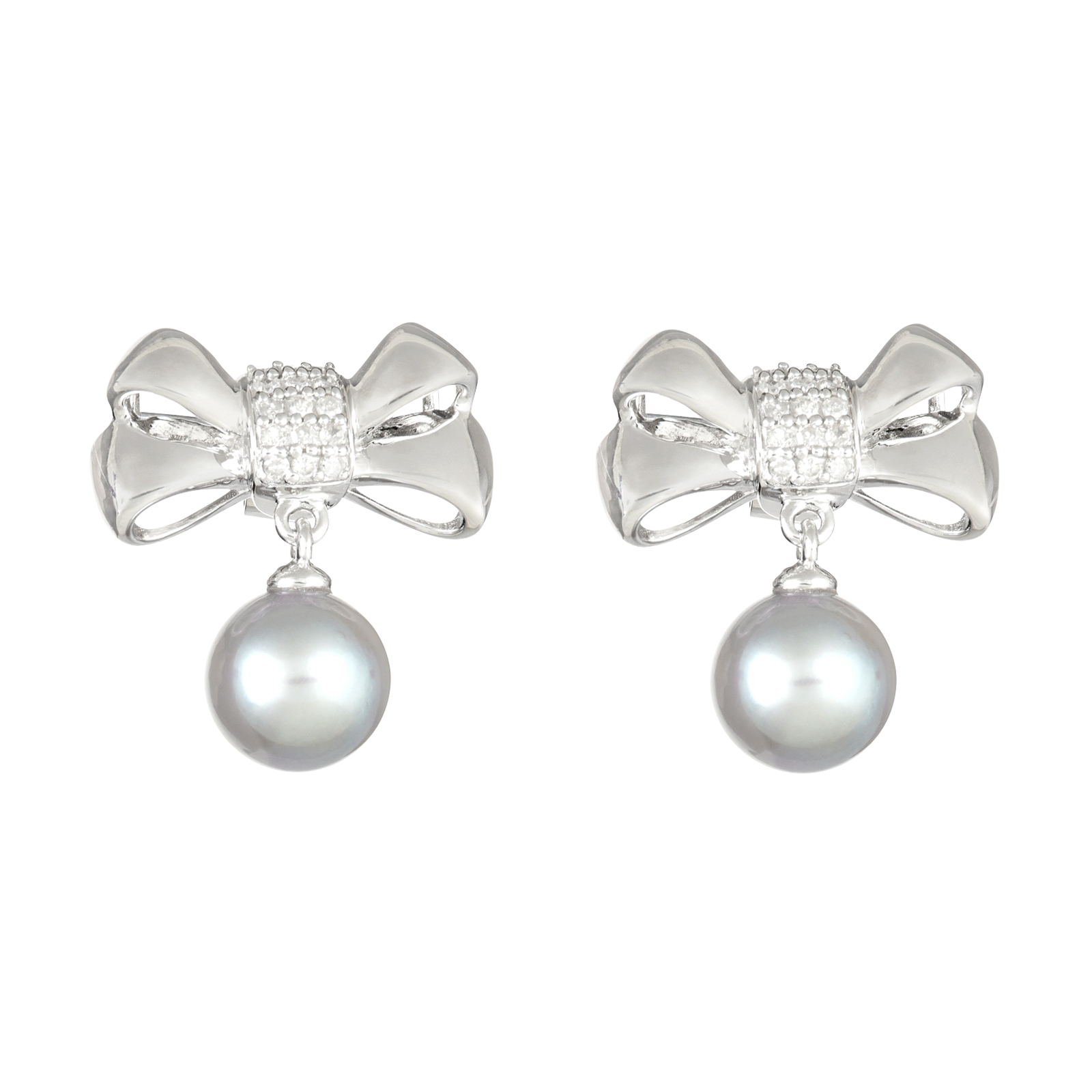 Ladies Sterling Silver .20 cttw Diamond Bow and Genuine Gray Pearl Dangle Earrings PartNumber: 04439955000P KsnValue: 04439955000 MfgPartNumber: E22322SSPG000A10A