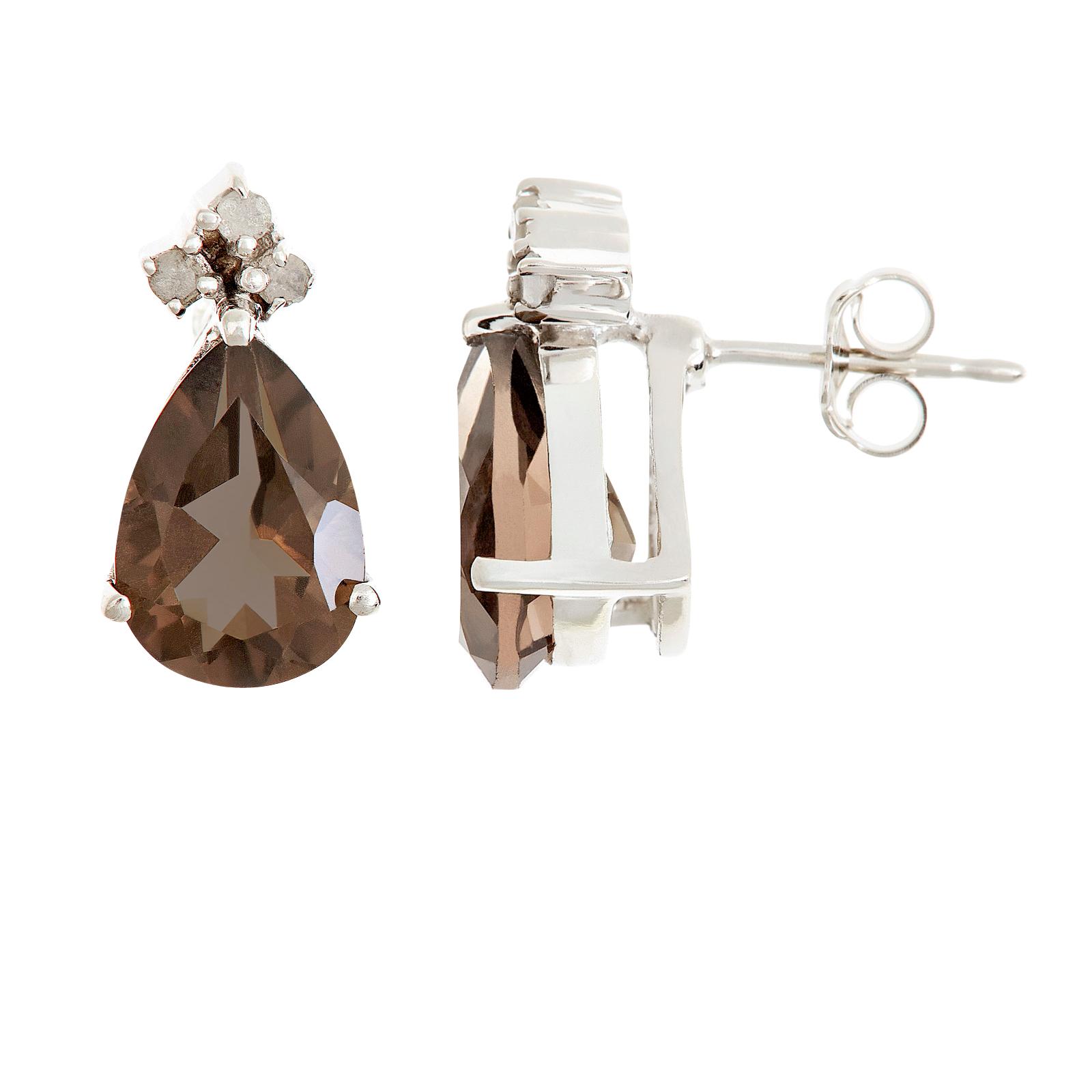 Ladies Sterling Silver Pear Shape Genuine Smokey Quartz Gemstone with .10 cttw Diamond Earrings