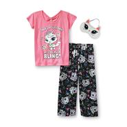 Joe Boxer Girl's Graphic Pajama Top, Bottoms & Sleep Mask - Bling at Kmart.com