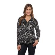 Laura Scott Petite's Half-Zip Fleece Jacket - Animal Print at Sears.com