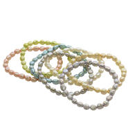 "5-6mm Multi-color Baroque Freshwater Pearl 7"" Stretch Bracelet 7 Piece Set at Kmart.com"