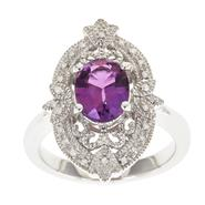 Ladies Sterling Silver Vintage Amethyst and .10 cttw. Diamond Ring at Sears.com