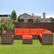 Atlantic Bermuda 8 Piece Brown Synthetic Wicker Patio Seating Set With Orange Cushions at Kmart.com