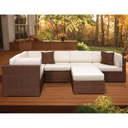 Atlantic Hampton 6 Piece Synthetic Wicker Brown Sectional Set with Off-White Cushions at Kmart.com