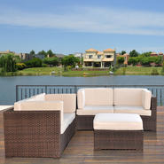 Atlantic Nassau 5 Piece Brown Synthetic Wicker Patio Seating Set With Off-White Cushions at Kmart.com