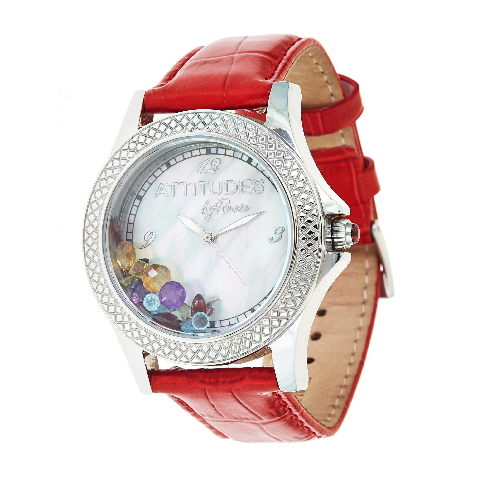 Ladies Stainless Steel Multi Gemstone Watch