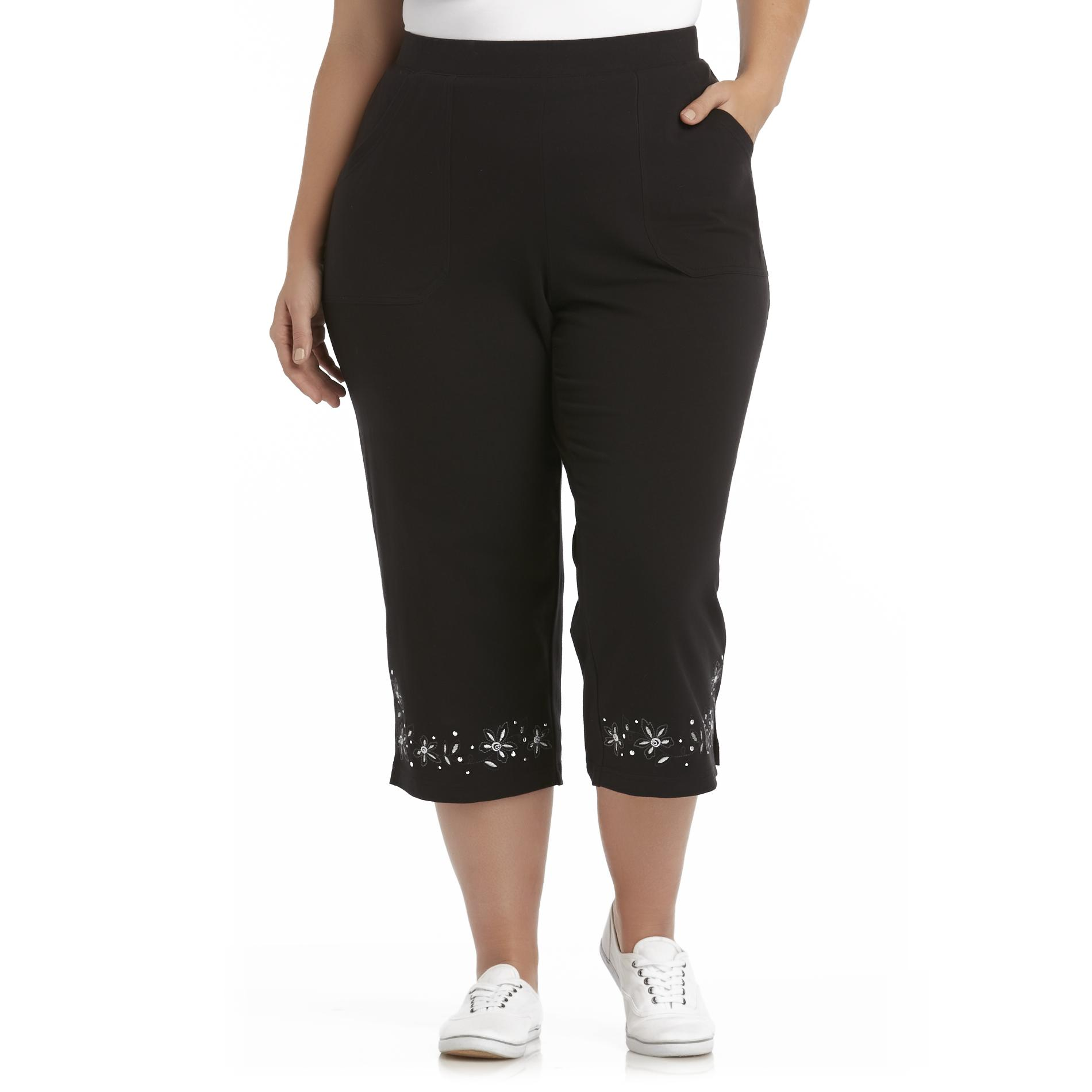 Basic Editions Women's Plus Embroidered Knit Capri Pants - Floral at Kmart.com