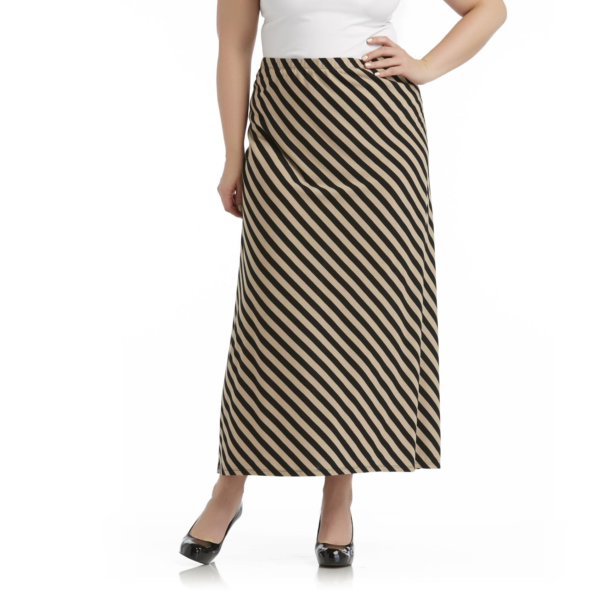 Beverly Drive Women's Plus Jersey Knit Maxi Skirt - Striped at Sears.com