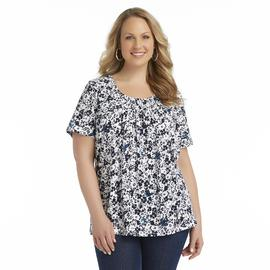 Basic Editions Women's Plus Pleated Scoop Neck Top - Floral Butterflies at Kmart.com