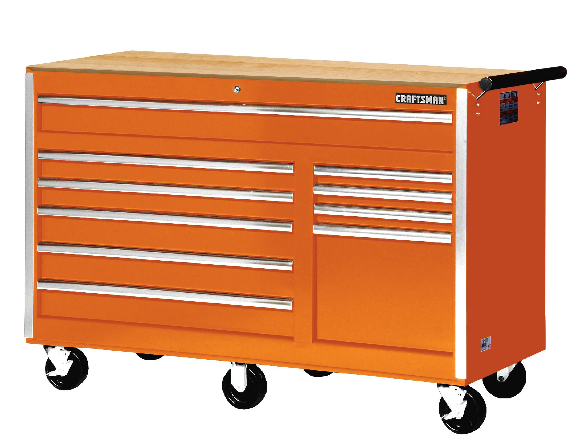 Craftsman 56 in. 10-Drawer Ball Bearing Slides Cabinet With Hard Wood Top, Orange- with Free Shipping