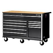 "Craftsman 56"" 10-Drawer Ball Bearing Slides Cabinet With Hard Wood Top, Black at Kmart.com"