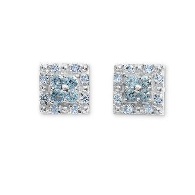 Blue Topaz and White Sapphire Earrings Sterling Silver
