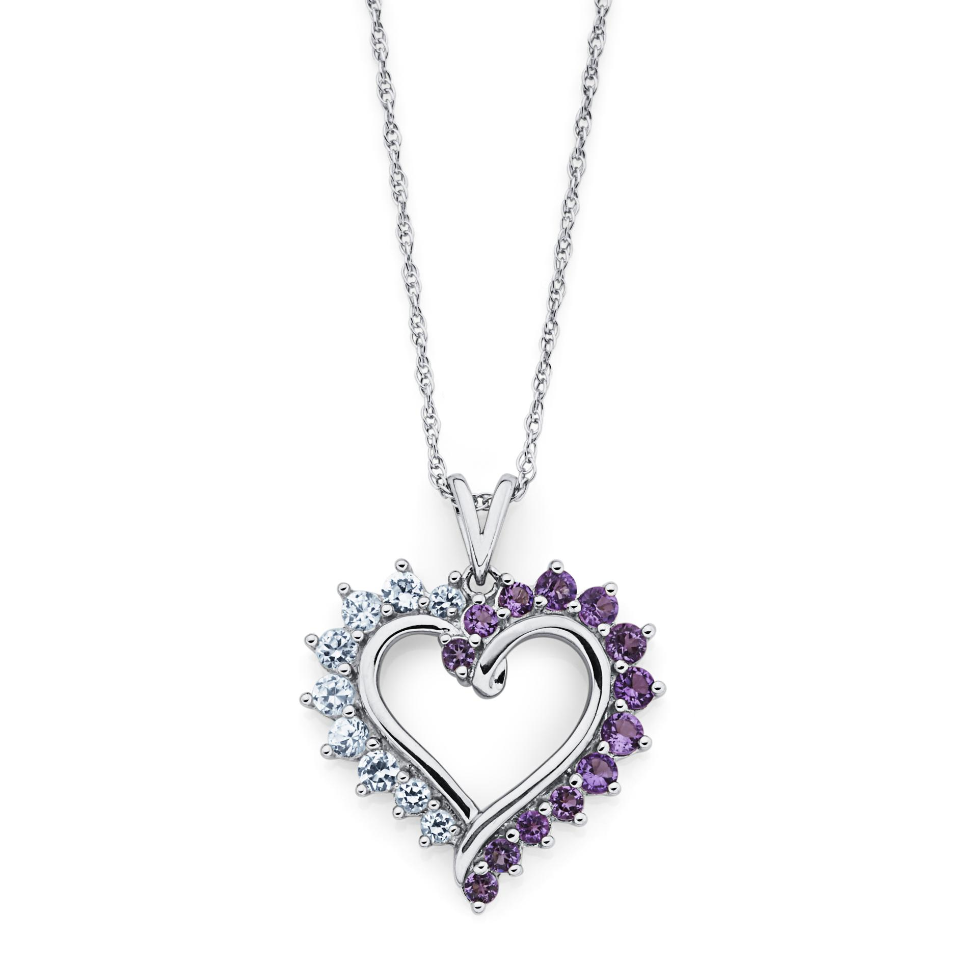 Sterling Silver Lab Created Amethyst and Lab Created White Sapphire Perfect Heart Pendant