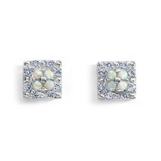 Lab Created Opal & White Sapphire Sterling Silver Stud Earrings
