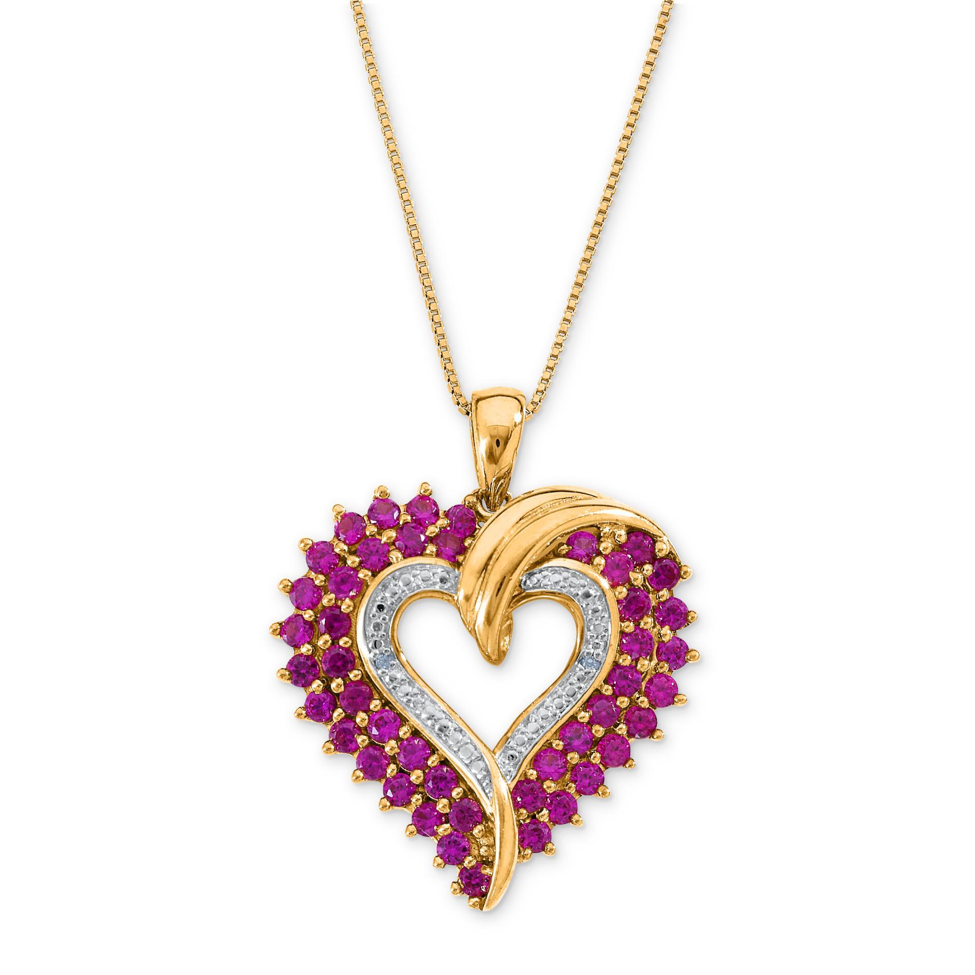 Lab Created Ruby and Diamond Heart Pendant