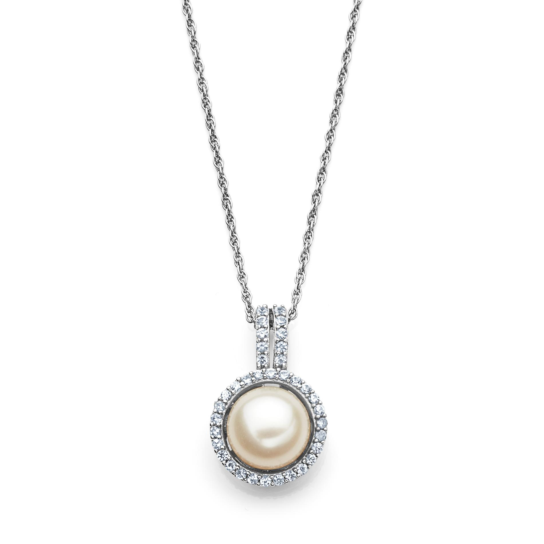 Pearl & Lab Created White Sapphire Pendant Necklace PartNumber: 04472395000P KsnValue: 04472395000 MfgPartNumber: 33653L22SS