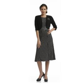 Perception Women's Sleeveless Dress & Cardigan - Polka Dots at Sears.com